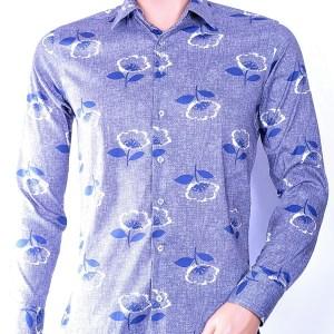 Ferlucci trendy heren overhemd met allover bloemen print, F044 Grijs