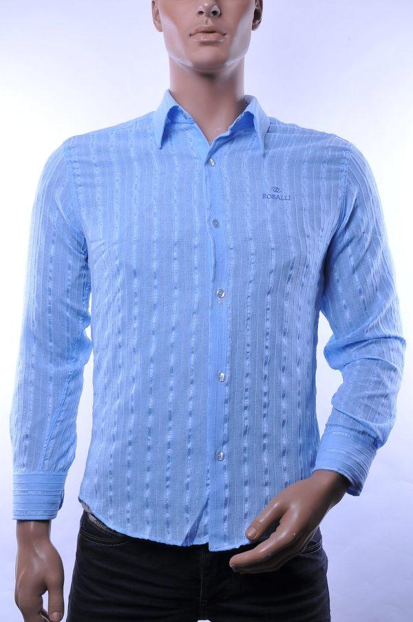 Roballi trendy allover verticale fijne strepen dessin doorzichtige heren overhemd, R219 Blauw