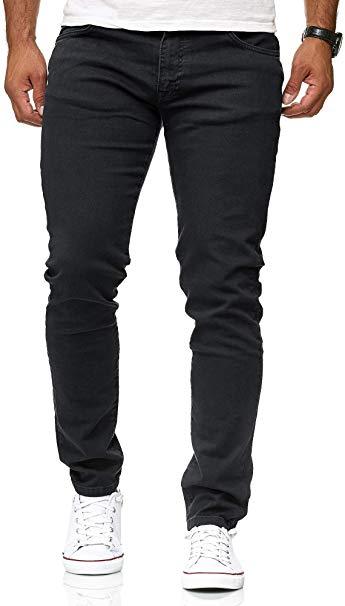 Red Bridge trendy effen witte kleur slim fit heren skinny jeans, R224 Zwart
