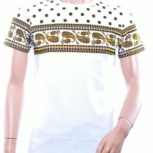JAYLVIS trendy ronde hals heren T-Shirt met paisley print, J230 Wit