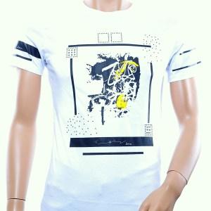 JAYLVIS trendy ronde hals lange heren T-Shirt met steentjes, J381 Wit