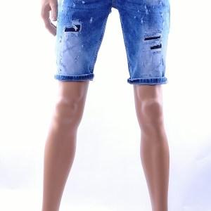BlackRock hippie gescheurde slim fit heren korte spijkerbroek, B541 Blauw