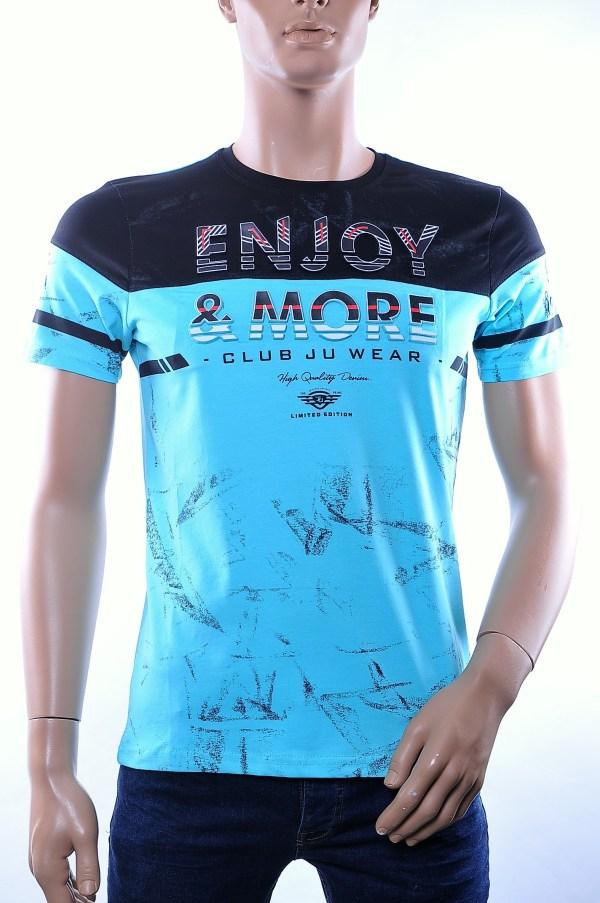 CLUB JU trendy ronde hals heren T-Shirt met 3D letters, C375 Turquoise