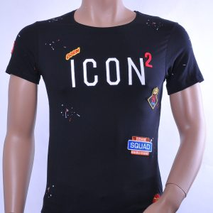 BlackRock trendy ronde hals ICON geborduurd heren T-Shirt, B471 Zwart