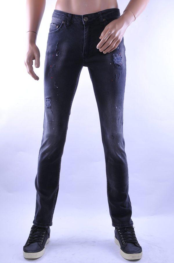 D&A trendy gescheurde slim fit heren skinny jeans met verfspetters, D018 Zwart