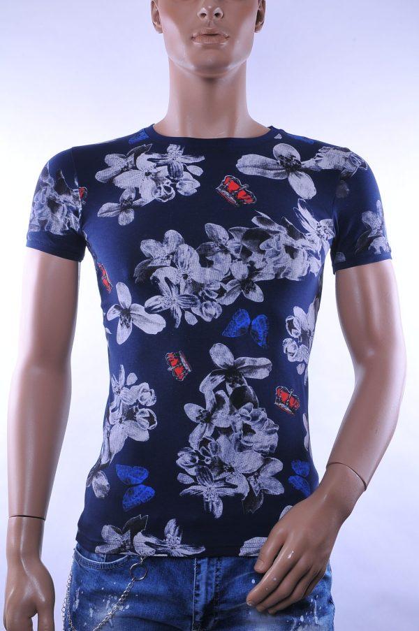 D&A trendy ronde hals heren T-Shirt met allover bloemen print, D681 Navy