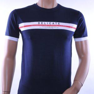 D&A trendy ronde hals heren T-Shirt met tekst, D253 Navy