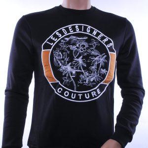 Les Designers trendy ronde hals heren sweatshirt, L105 Zwart