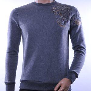 Les Designers trendy heren trui met geborduurde tijgerkop, L369 Zwart