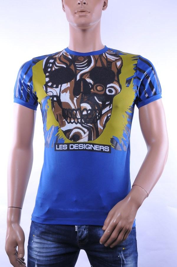 Les Designers trendy ronde hals heren skull T-Shirt met steentjes, C363 Blauw