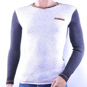 CLUB JU trendy slim fit gemêleerd heren V-hals Shirt, C055 Grijs