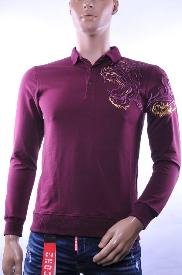 Ci-Borg/Les Designers trendy heren Poloshirt met geborduurde tijgerkop, C338/L398 Bordeaux