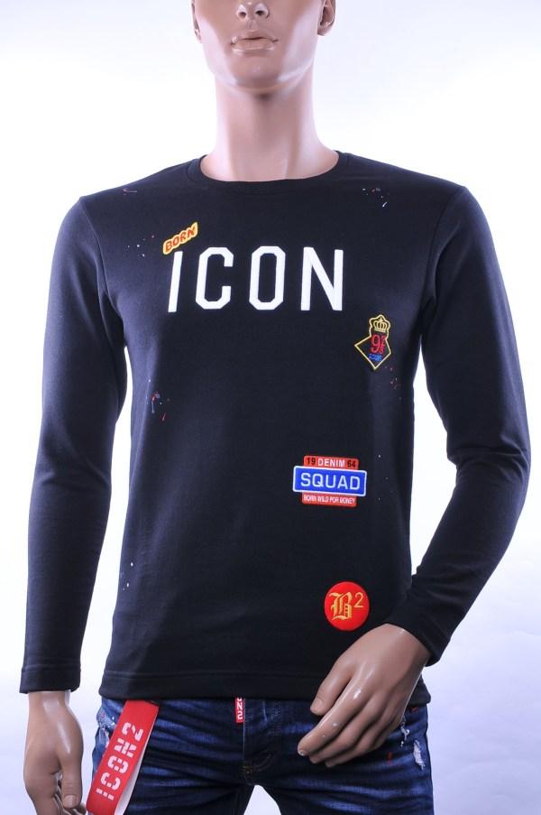 BlackRock trendy ronde hals ICON geborduurde heren sweatshirt, B635 Zwart