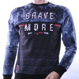 CLUB JU trendy ronde hals heren sweatshirt met 3D letters, C751 Zwart