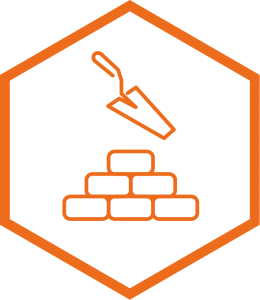 Build icon with bricks and trowel
