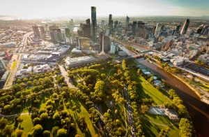 Drone view of Melbourne's downtown area.