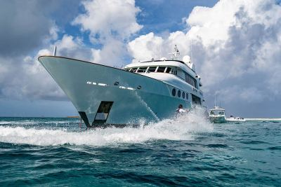 bow view of the luxury yacht Relentless