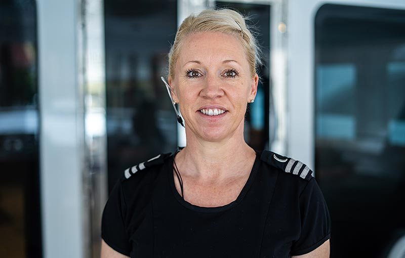 Chief Stewardess Simone Seckington, on luxury yacht Relentless