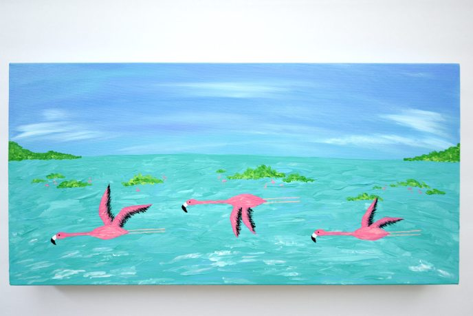 Turks and Caicos Flying Flamingos Acrylic Painting