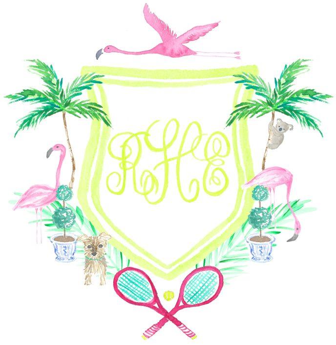 Watercolor Monogram Crest with Flamingos Koala Yorkie Tennis