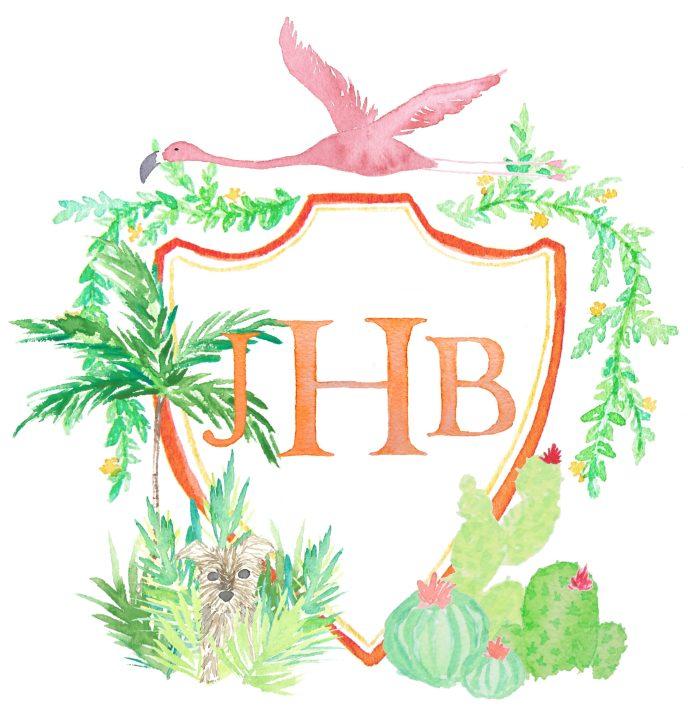 JBH Monogram Crest with Flamingo, Plants, Yorkie