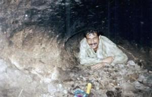 Sanjay Talekar inside of Cave. Cave on Irshalgad fort, near Panvel, Maharashtra.