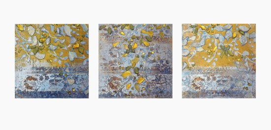 "Balsam Poplar Series, pewter, 6"" x 6"" each, encaustic & foil on Belgian linen on panel, 2013."