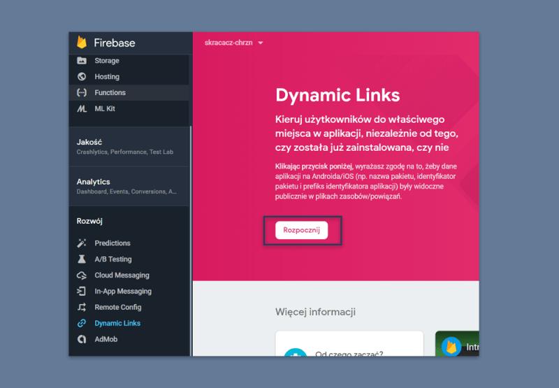 Skracacz linków - Google Firebase
