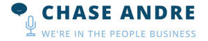 Chase Andre - Were in the People Business – mic and chat bubble logo