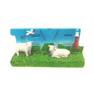 Souvenir Texel Decoplaat: vuurtoren & schapen