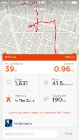 Runtastic data integrated in UP3-app