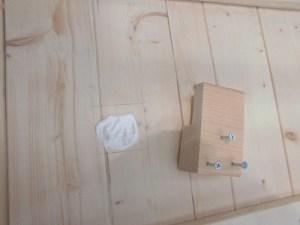 日曜大工教室~我流か自己流か編~ 取り付け位置に木工ボンド/どこまでもアマチュア