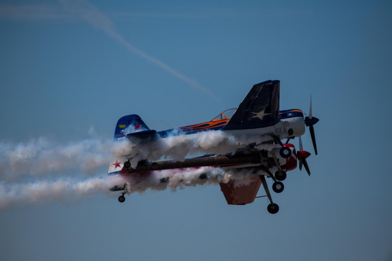 Smoke trails coming out of the Yak 110
