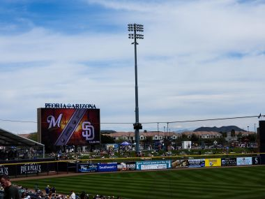 The readerboard with both the Mariners and Padres logos.