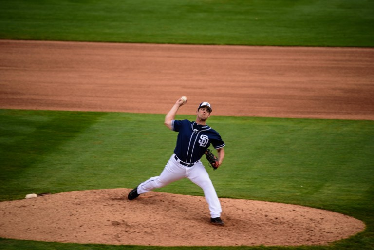Padres pitcher getting ready to throw.