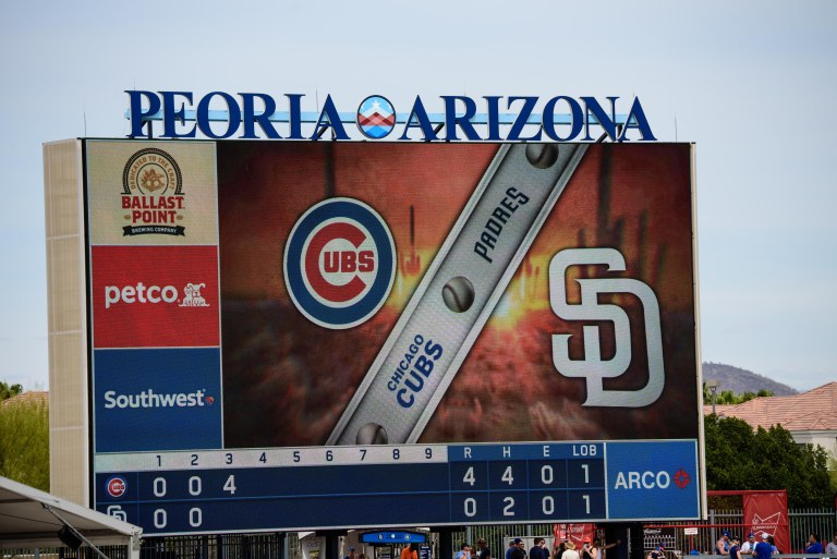 The sign at the game between the San Diego Padres and the Chicago Cubs.