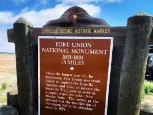 A sign about the Fort Union National Monument, which is 18 miles from the rest area location.