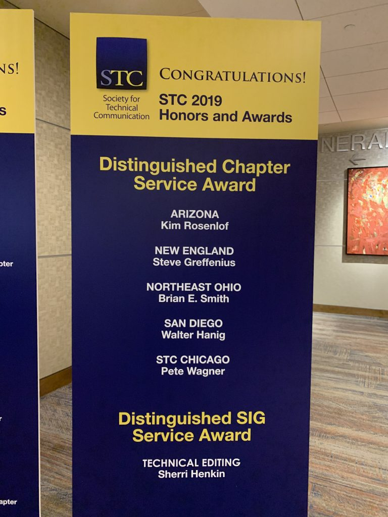 Distinguished Chapter Service Award and Distinguished SIG Service Award winners.
