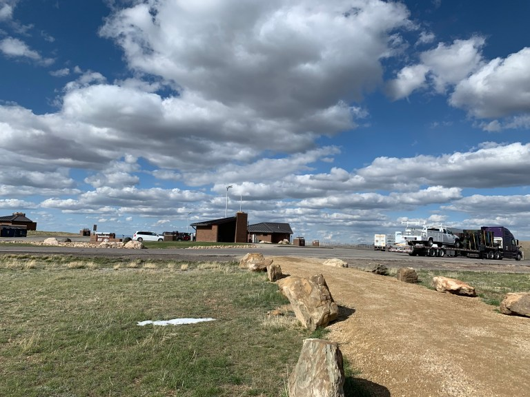 A view of the rest area from the fence line.