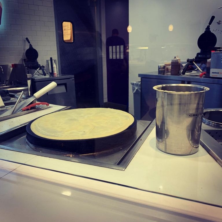 Making the crepe behind the scenes.