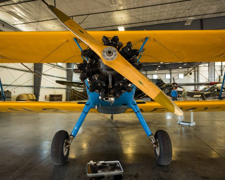 A Boeing/Stearman PT-17 plane from the front.
