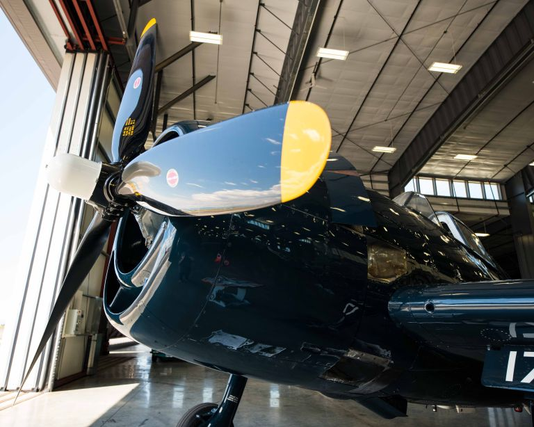 The front of the F6F-5N Hellcat Night Fighter from the side.
