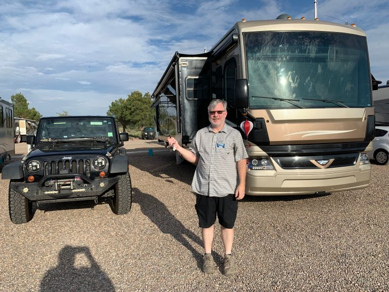 Bob after we parked our RV and Jeep.