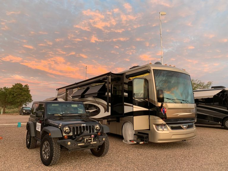 The RV with the sunset glow.