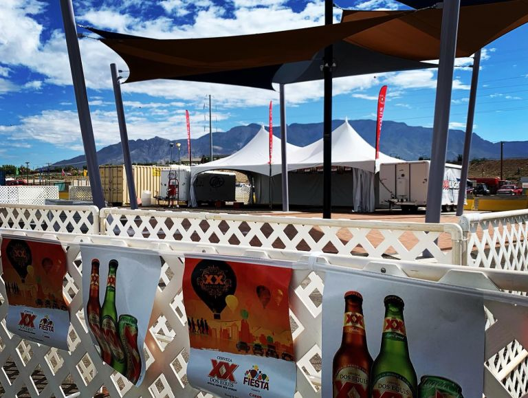 One of the Dos Equis pavilions on the Main Street Village thoroughfare.