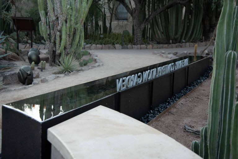 The entrance area of the Fine Family Contemplation Garden at the Desert Botanical Garden.