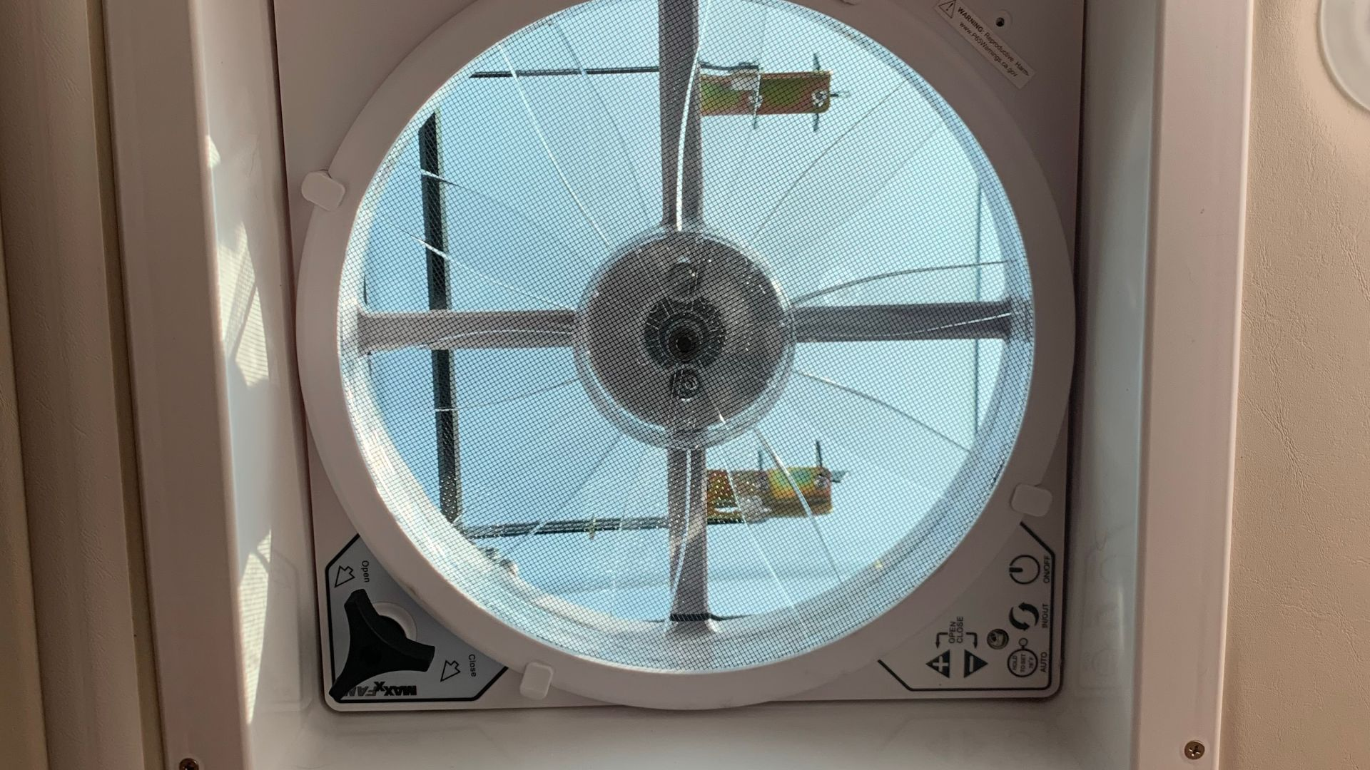 An installed vent fan.