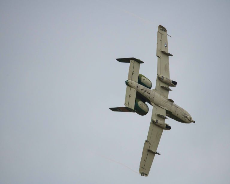 The underside of the A-10C plane.