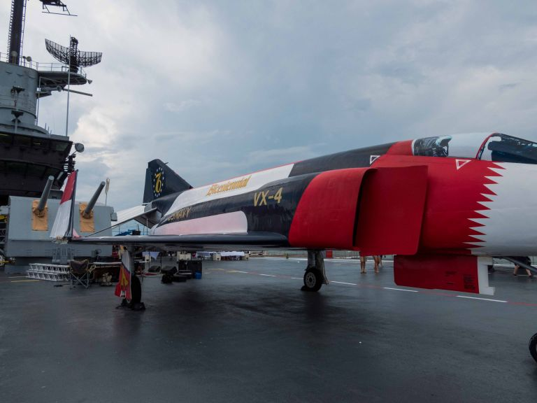 Closer look at the back side view of the F-4A Phantom II.