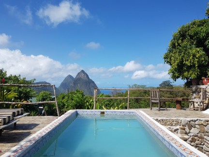 Pool at Crystals overlooking the Pitons